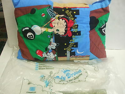 "Vintage 1984 Betty Boop ""Betty's Billiards"" Material Standard Sized Pillow w/Bag"