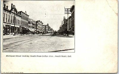 South Bend, Indiana Postcard Michigan Street South from Colfax Ave c1900s Unused