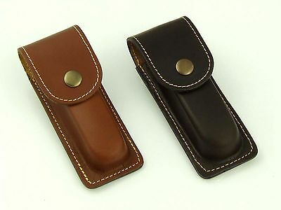 """Leather Folding Knife Sheath Case Pouch Holder Belt Hand Made Hunting 4,5"""""""