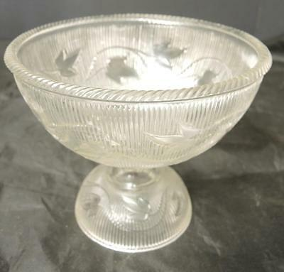 EAPG Flint Compote With Domed Base  * Ribbed Ivy