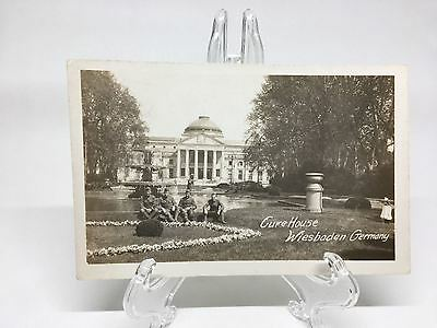 KF) Vintage World War I WWI Soldiers at Wiesbaden Germany Cure House Postcard