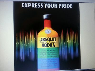 """ABSOLUT """"EXPRESS YOUR PRIDE"""" Laminated glossy 24 BY 36 NEW"""