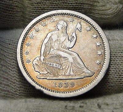 1839 Seated Liberty Quarter 25 Cents - Key Date only 491,146 minted. (6200)