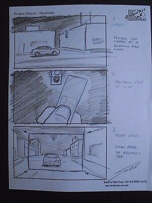 Dexter (2006 Pilot) Hand Penciled Production Storyboard Page Jeff Lindsay #MS1