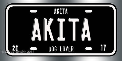 Akita Dog Breed License Plate  Red Blue Green Yellow Black