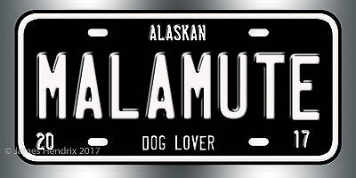 Alaskan Malamute Dog Breed License Plate  Red Blue Green Yellow Black