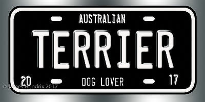Australian Terrier Dog Breed License Plate  Red Blue Green Yellow Black