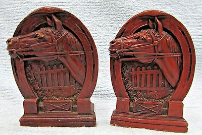 2 Old Horseshoe Horse Head Game Stick Fence Vintage Syroco Bookends Set FREE S/H