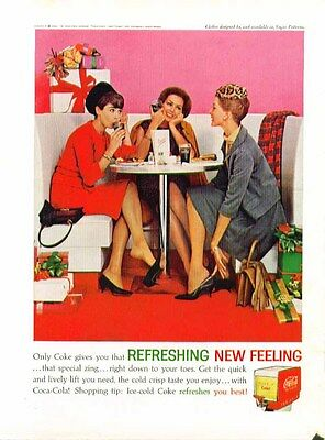 Only Coke gives you that Refreshing New Feeling Coca-Cola ad 1962 shopping lunch