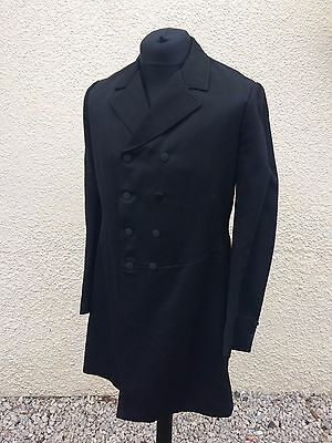 "Vintage 1940's Black Wool Frock Coat 38"" Goth Steampunk Cosplay"