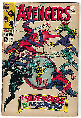Marvel Comics THE AVENGERS Issue 53 The Avengers Vs The X-Men! VG-