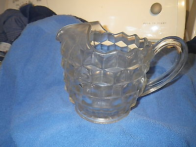 "Vintage Fostoria American Pattern Pitcher W/ Ice Lips  7 "" Tall  9 "" Wide"