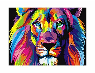 AA5 - Printed Fabric Cushion Insert Panel Patchwork Art - Abstract Lion