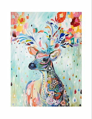 AA6 - Printed Fabric Cushion Insert Panel Patchwork Art - Abstract Deer