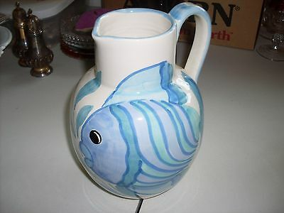 Made In Italy Hand Painted Pitcher Signed Sara Hand Made Estate Piece