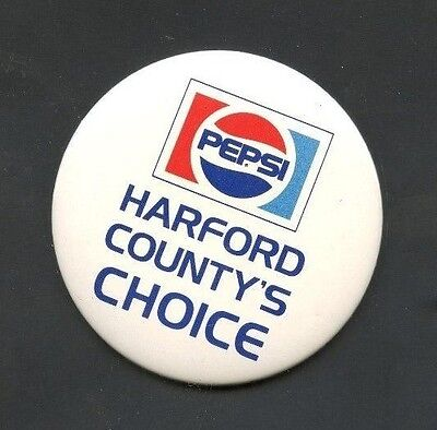 Vintage Pepsi Cola Harford County's Choice Pin Back Button Maryland See Scan