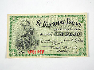 1900 Colombia 1 Peso Serie D Banknote PS504 - Double Serial Number Error