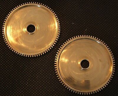 CLOCK PARTS - LARGE POLISHED BRASS GEARS - STEAMPUNK MODELLERS ART - LOT OF 2pcs
