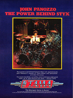 1981 John Panozzo The Power Behind STYX Rock Band TAMA Drums promo print ad