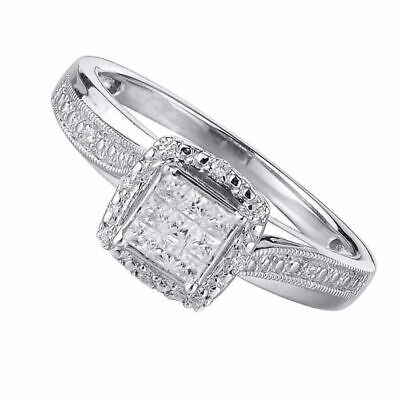 f7c6af1d76d 1 5 ct Real Diamond Square Princess Cut Promise Ring in Sterling Silver