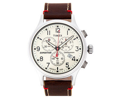 Timex 42mm TW4B04300 Expedition Scout Chrono Leather Watch - Brown