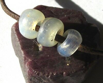 "16 Rare Small Old Graduated Opalescent Venetian ""baby Moon"" Antique Beads"