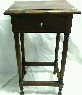 Antique Hard Wood Single Drawer Stand Side Table With Glass Knob