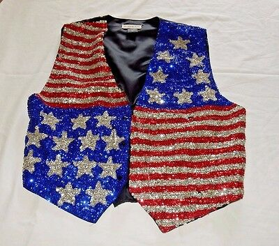 1977 Vintage Star Spangled Vest Adult Xl - Patriotic Flag 4Th July Parade Party