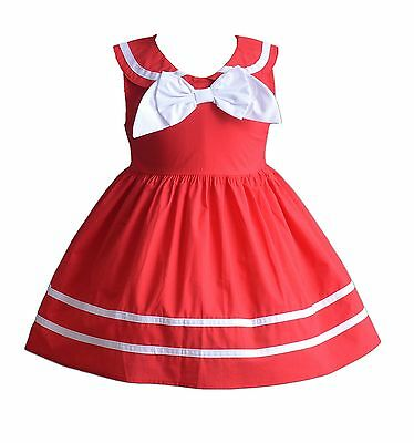 Cinda Baby Girls Bow Summer Party dress in White Blue Red 3 6 9 12 18 Months