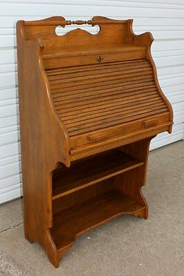 RARE SIZE Antique Solid Oak S Roll Top Desk Pull Out Surface +Bottom Bookshelves