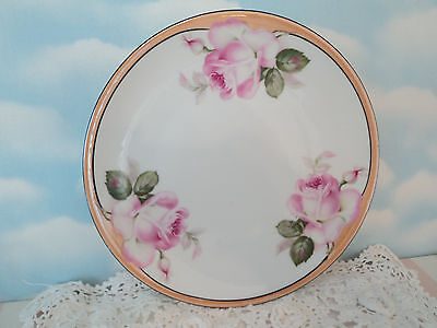 """Pink Rose Decorative 8 1/4"""" Plate Wall Art  Shabby Victorian Cottage GERMANY"""