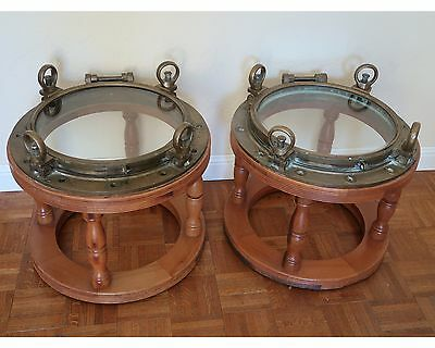 "Old Teak Porthole Tables, Set of Two, 22"" Diameter, 4 Dog Ears"