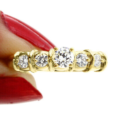 D/Vvs1 Round 14K Yellow Gold Over Five Stone Engagement Ring $321.96