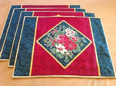 Four Lovely Placemats, Hand Made, Christmas Poinsettias, Roses, Red, Green 🌹🌹