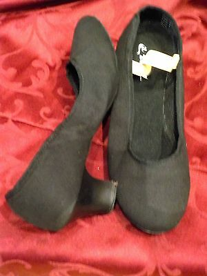 Black Canvas Character Dance Shoes Suede Sole Ballroom Modern Size 7.5 71/2 New