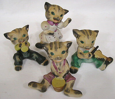 Vintage Set 4 Piece Cat Band Orchestra Made in Japan Three Play One Dances