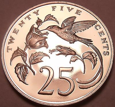 Rare Proof Jamaica 1976 25 Cents~Streamer-Tailed Hummingbird~24k  Minted~Free Sh