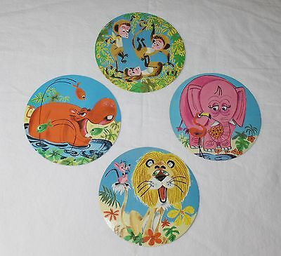 Vintage Folgers Coffee Tin Jungle Animal Paper Inserts Disks Folger You Choose