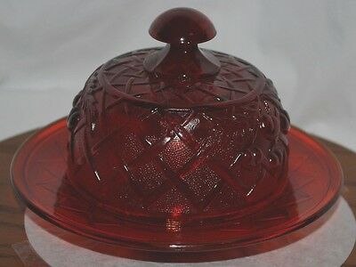 Vintage unmarked Cherries Cherry Ruby Red Lattice Dome Covered Butter Dish