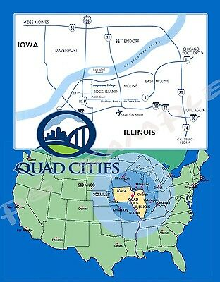 IOWA / ILLINOIS - QUAD CITIES Map - Travel Souvenir Flexible Fridge Map Of Illinois And Iowa on