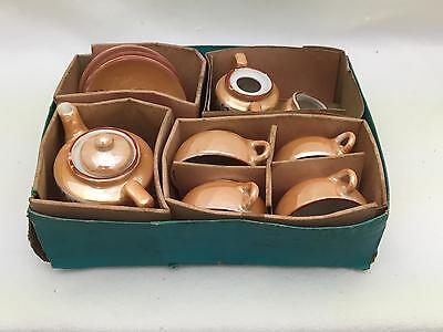 Vintage Japanese Golden Lusterware Childs/Doll Toy Tea Set in Original Box 12 PC