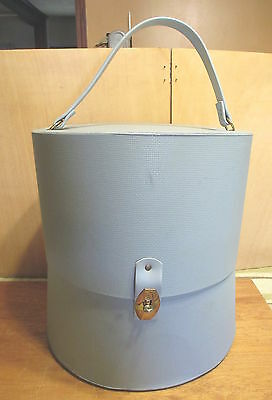 Hollywood Everbest Retro Blue Vinyl Lg Wig Hat Box Carrier Case w Head Vtg   d6