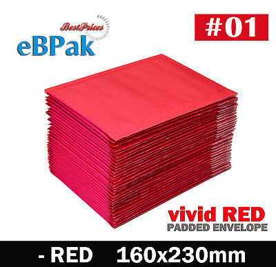 200x # 01 - RED Colour Vivid - Bubble Envelope 160x230mm Padded Bag Mailer A5 C5