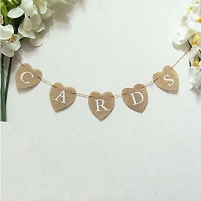 Cards Vintage Rustic Wedding Party Hessian Burlap Fabric Mini Banner Bunting New