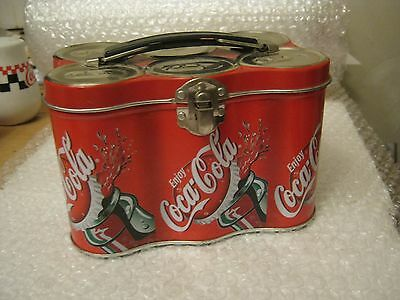 Coca-Cola Six-Pack Storage Tin, Hinged Lid With Hasp And Handle (007-5)