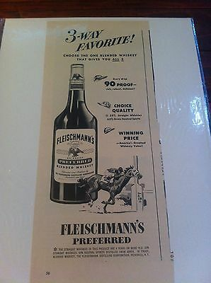 Vintage 1949 Fleischmann's Preferred Whiskey 3 Way Favorite Horse Race Print ad