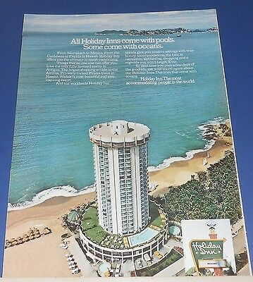 1971 Holiday Inn circular building Ad all have pools some come w/oceans