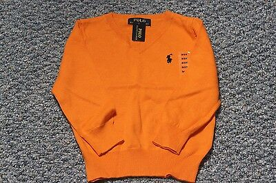 Polo Ralph Lauren V-Neck Boy Sweater Orange 100% Cotton NWT