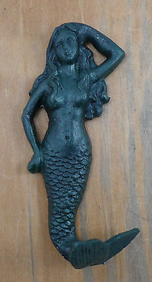 Decorative Cast Iron Mermaid Nautical Beach Home Decor Decor Wall Mount Green