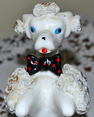 Pretty Porcelain Vintage Spaghetti Poodle Dog Figure, Sitting Up, Black Bow Tie